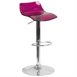 Transparent Acrylic Adjustable Bar Stool in Purple