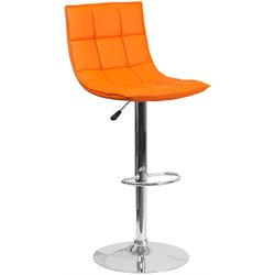 Faux Leather Quilted Adjustable Bar Stool in Orange