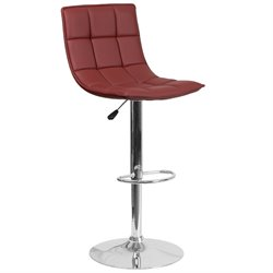Faux Leather Quilted Adjustable Bar Stool in Burgundy