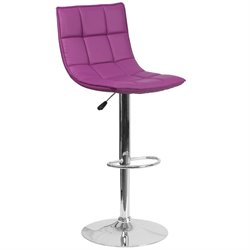 Faux Leather Quilted Adjustable Bar Stool in Purple