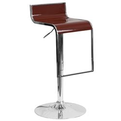 Plastic Adjustable Bar Stool in Burgundy