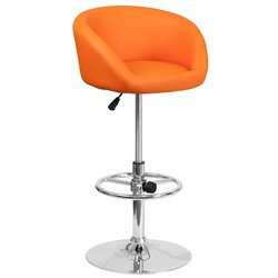 Faux Leather Adjustable Bar Stool in Orange