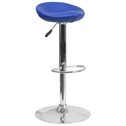 Faux Leather Adjustable Bar Stool in Blue