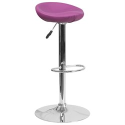 Faux Leather Adjustable Bar Stool in Purple