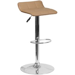 Faux Leather Adjustable Bar Stool in Cappuccino