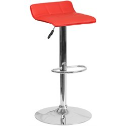 Faux Leather Adjustable Bar Stool in Red