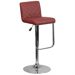 Faux Leather Adjustable Bar Stool in Burgundy