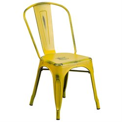 Metal Dining Chair in Distressed Yellow