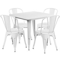 5 Piece Square Metal Dining Set in White