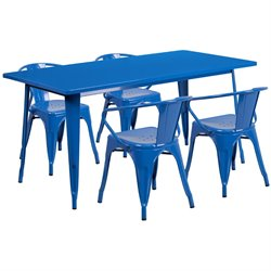 5 Piece Metal Dining Set in Blue