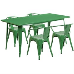 5 Piece Metal Dining Set in Green