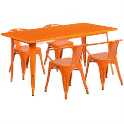 5 Piece Metal Dining Set in Orange