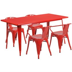 5 Piece Metal Dining Set in Red