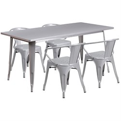 5 Piece Metal Dining Set in Silver