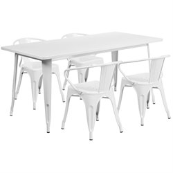 5 Piece Metal Dining Set in White