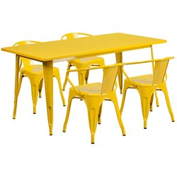 5 Piece Metal Dining Set in Yellow