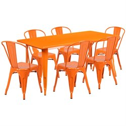 7 Piece Metal Dining Set in Orange