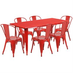 7 Piece Metal Dining Set in Red