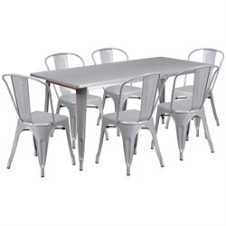 7 Piece Metal Dining Set in Silver