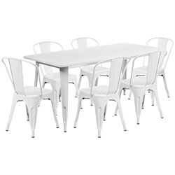 7 Piece Metal Dining Set in White