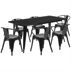 7 Piece Metal Dining Set in Black