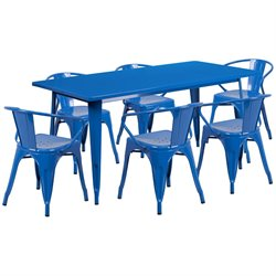 7 Piece Metal Dining Set in Blue