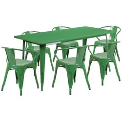 7 Piece Metal Dining Set in Green