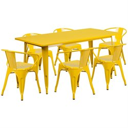 7 Piece Metal Dining Set in Yellow