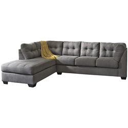Microfiber Left Facing Sectional in Charcoal