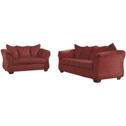 2 Piece Fabric Sofa Set in Red