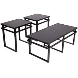 3 Piece Glass Top Coffee Table Set in Black