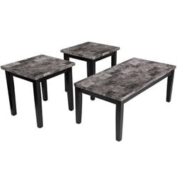3 Piece Faux Marble Top Coffee Table Set in Black
