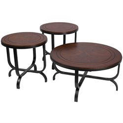 3 Piece Coffee Table Set in Bronze and Dark Brown