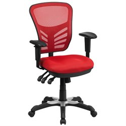 Mid Back Mesh Swivel Office Chair in Red