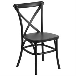 Resin Cross Back Dining Chair in Black