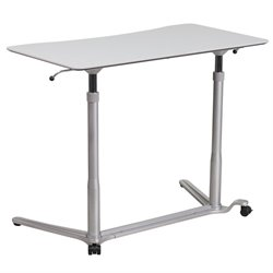 Adjustable Computer Desk with Casters in Gray