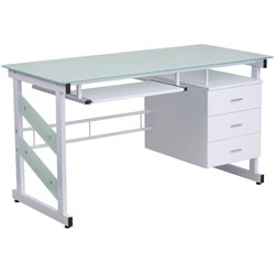 3 Drawer Glass Top Computer Desk in White