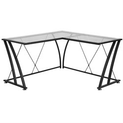 Glass L-Shaped Computer Desk in Black