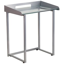 Glass Top Writing Desk in Silver