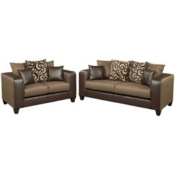 2 Piece Chenille Faux Leather Sofa Set in Brown