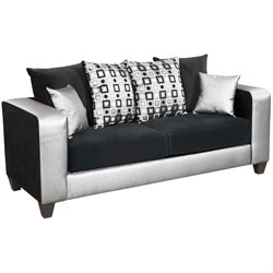 Velvet Sofa in Black and Silver