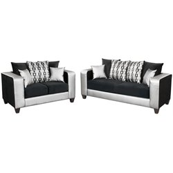 2 Piece Velvet Sofa Set in Black and Silver