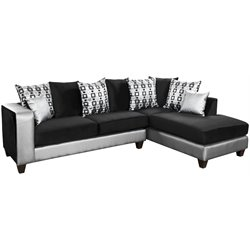Velvet Right Facing Sectional in Black and Silver