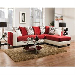 Velvet Right Facing Sectional in Red and White