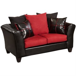 Faux Leather Loveseat in Black and Red