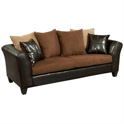 Faux Leather Sofa in Chocolate