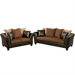 2 Piece Faux Leather Sofa Set in Chocolate