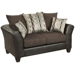 Faux Leather Loveseat in Sable Brown