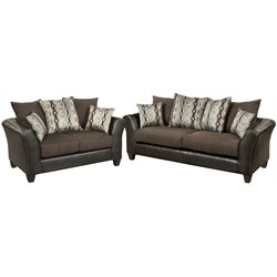 2 Piece Faux Leather Sofa Set in Sable Brown