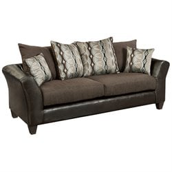 Faux Leather Sofa in Sable Brown